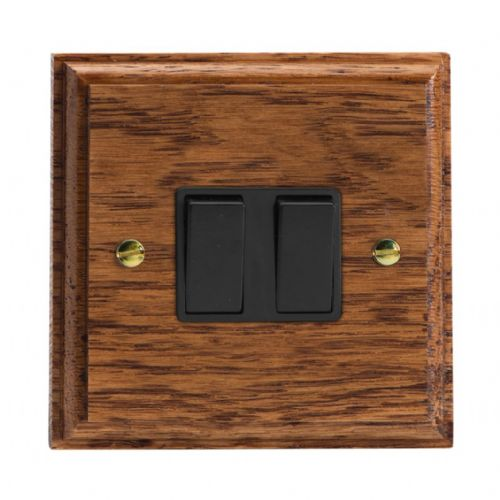 Varilight XK2MOB Kilnwood Medium Oak 2 Gang 10A 1 or 2 Way Rocker Light Switch